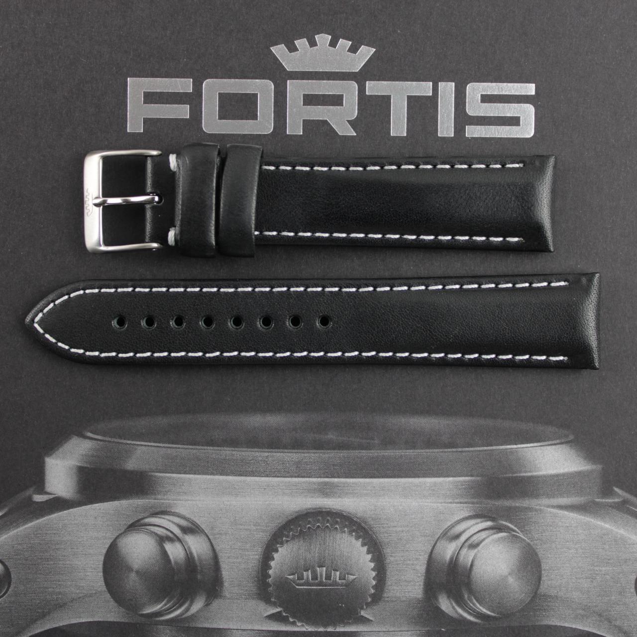 Fortis Lederband schwarz mit weisser Kontrastnaht.