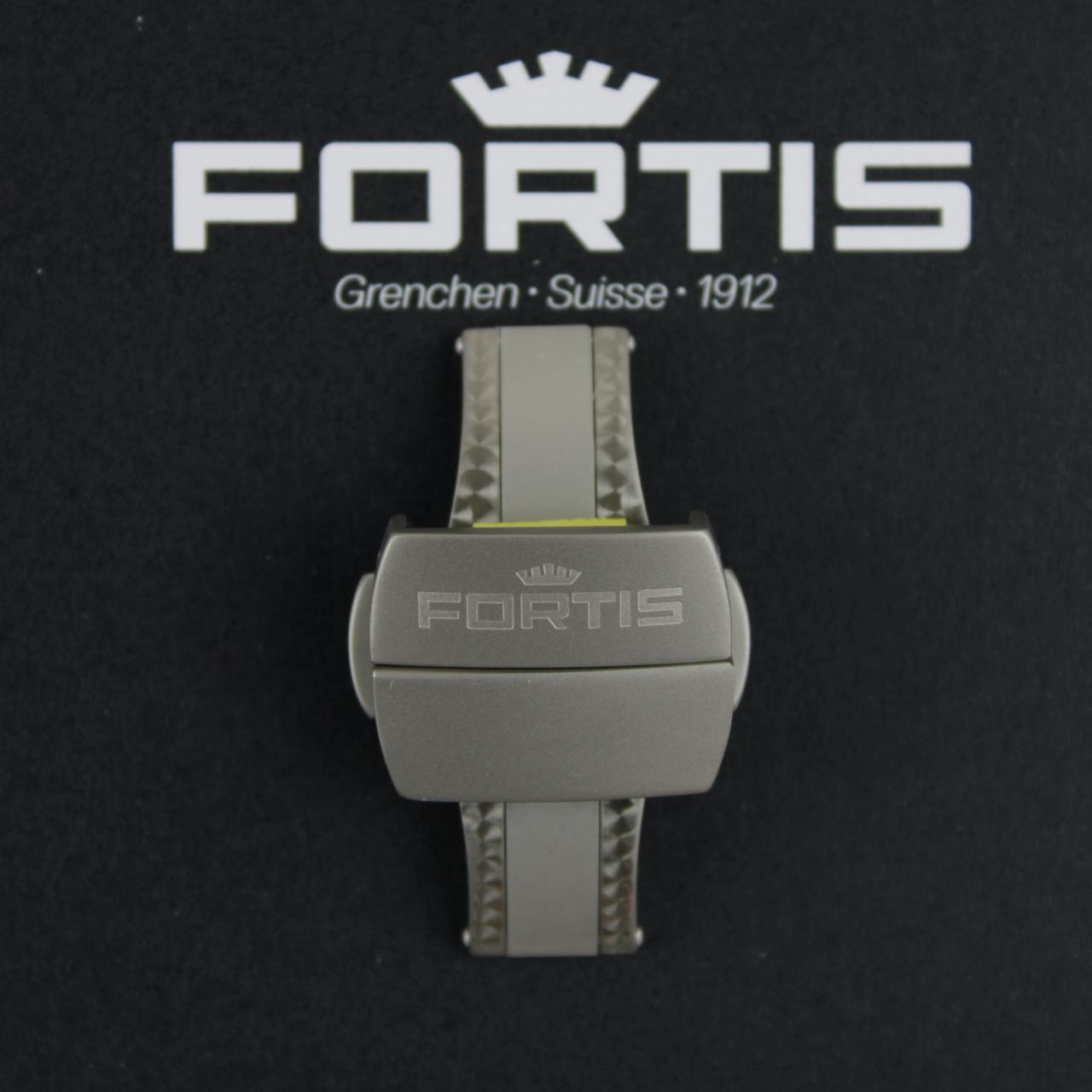 Fortis Faltschließe für Silikonbänder Titan gebürstet