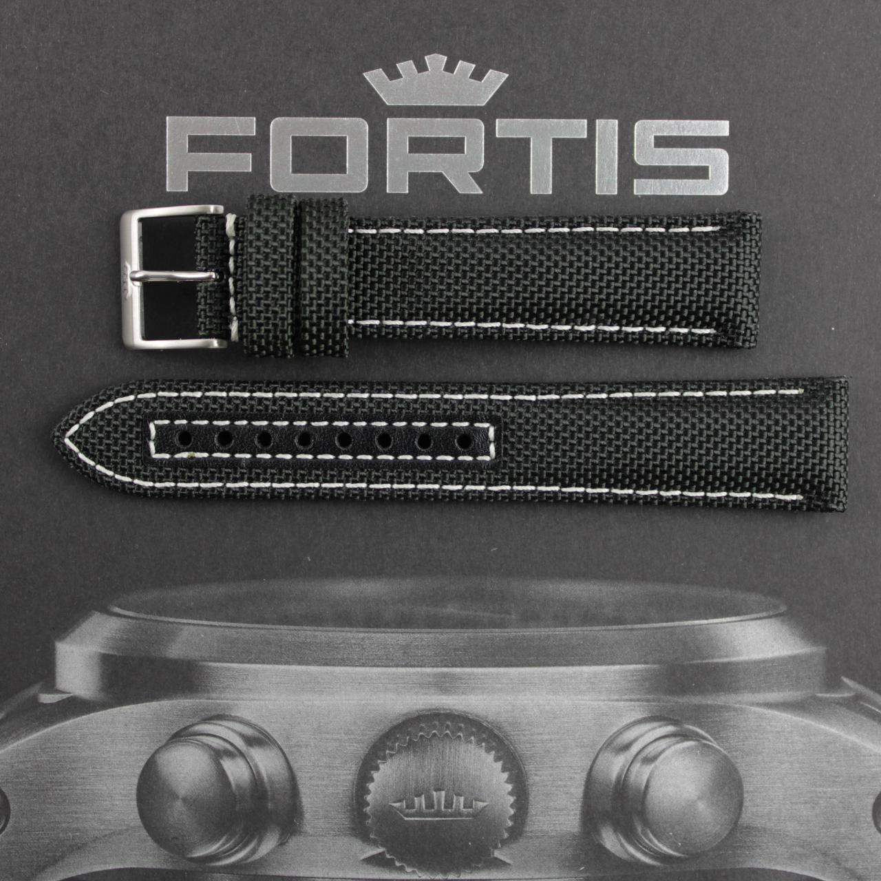 Fortis Cordura Band schwarz mit weisser Naht.