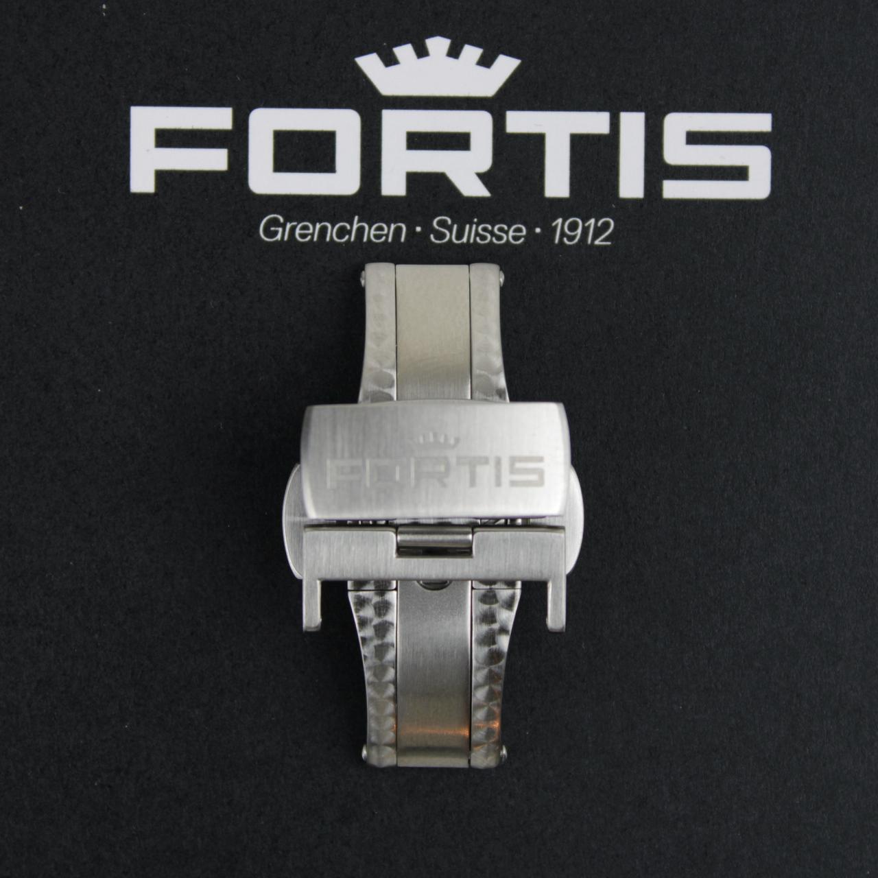 Fortis Faltschließe für Lederbänder Titan gebürstet