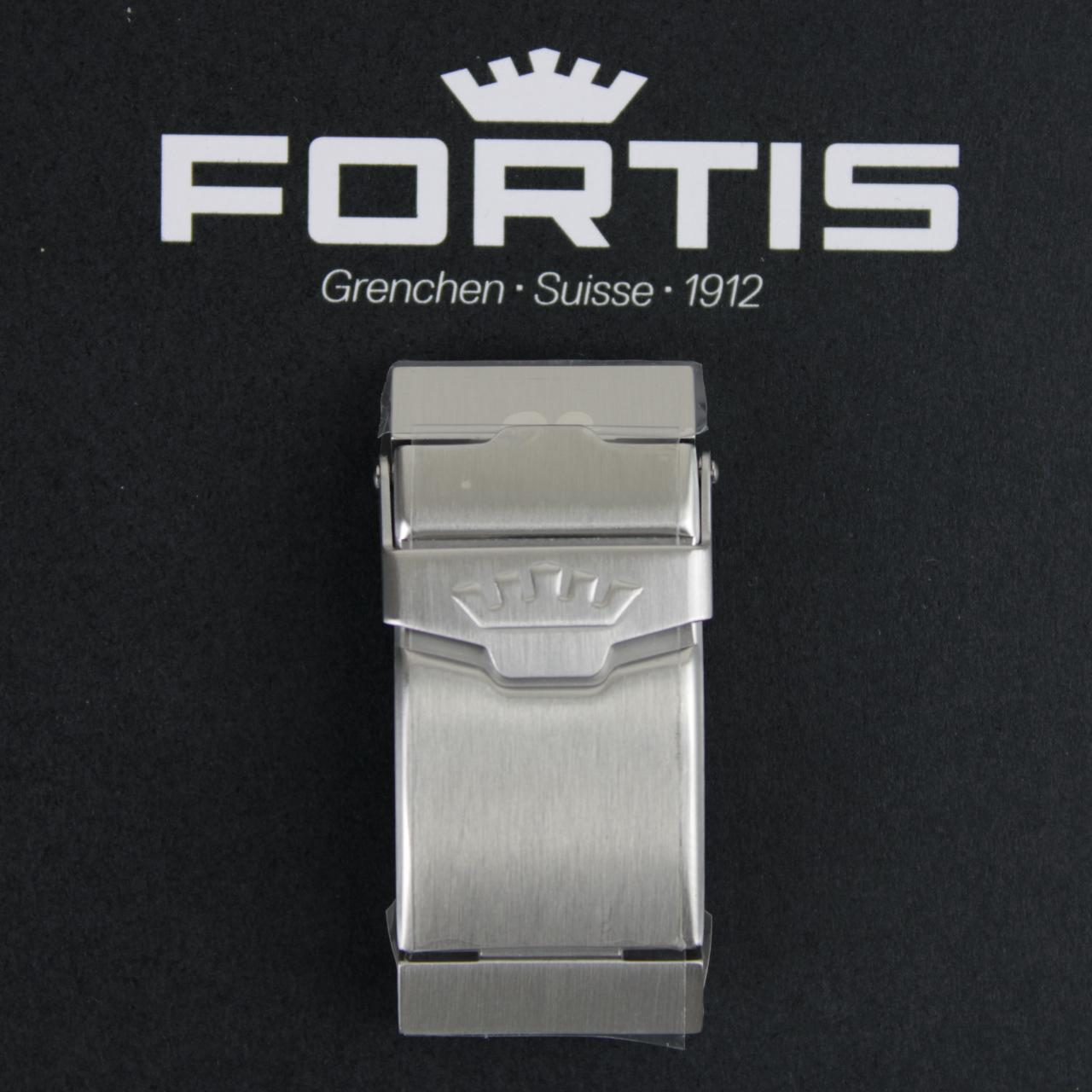 Fortis Faltschließe Diver für Silikonbänder Edelstahl gebürstet