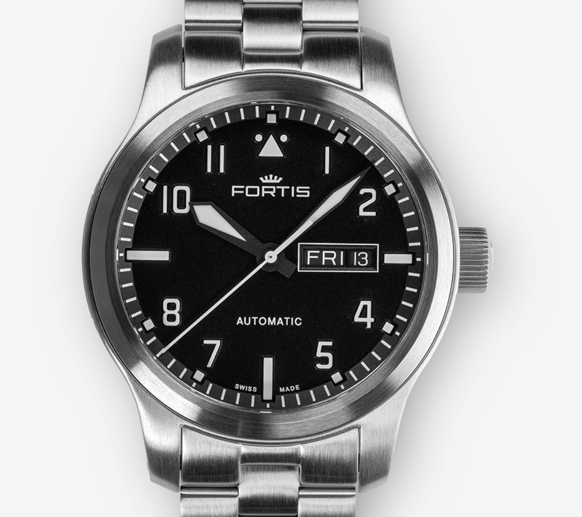 FORTIS AEROMASTER STEEL DAY-DATE, 655.10.10