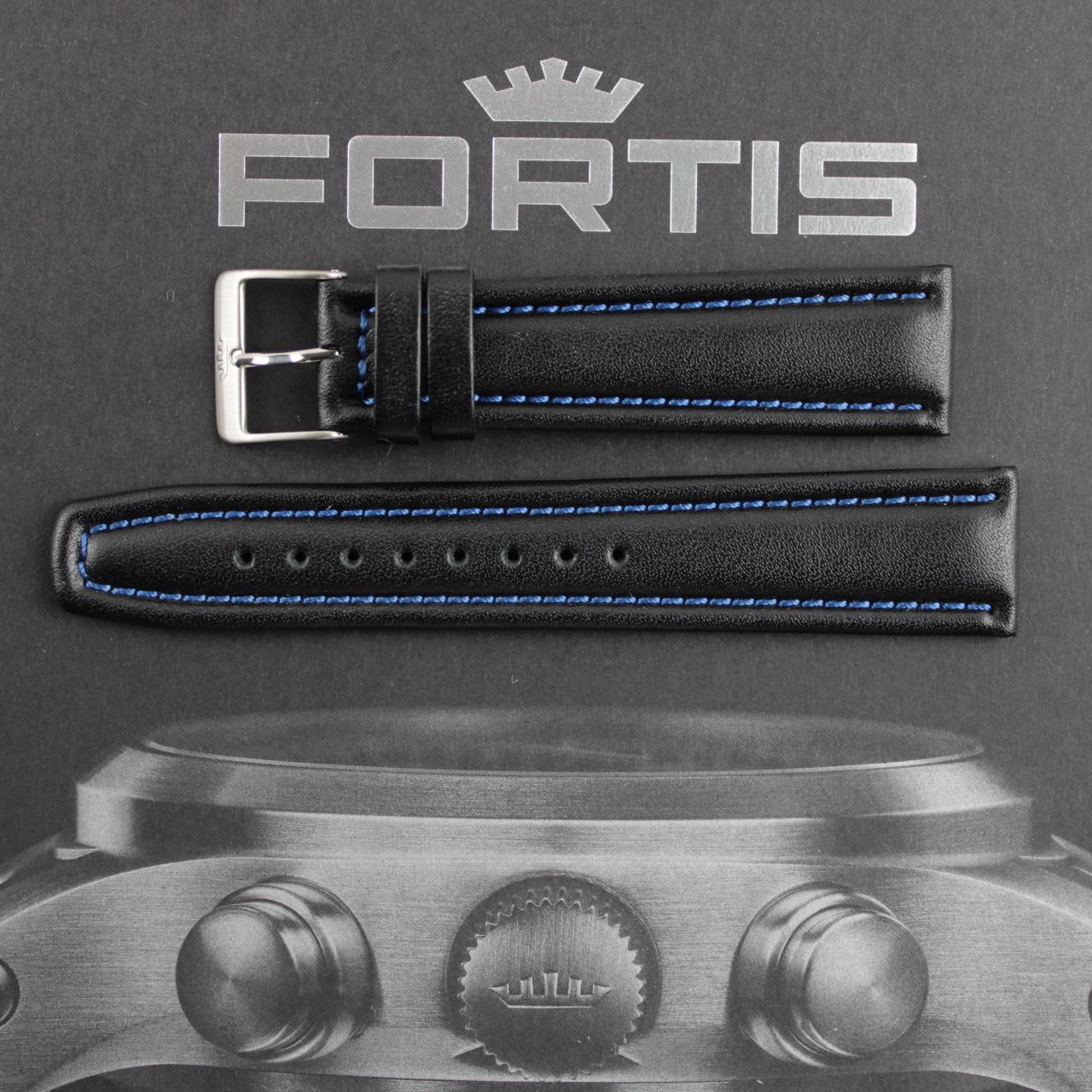 Fortis Lederband schwarz mit blauer Kontrastnaht.
